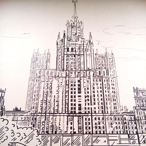 оформление стен городами России офиса Гринатом