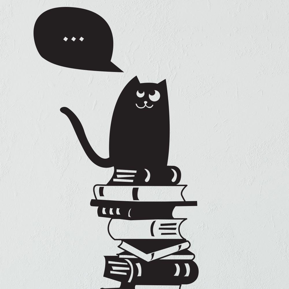 Изображение Кот и со вкусом подобранная библиотека