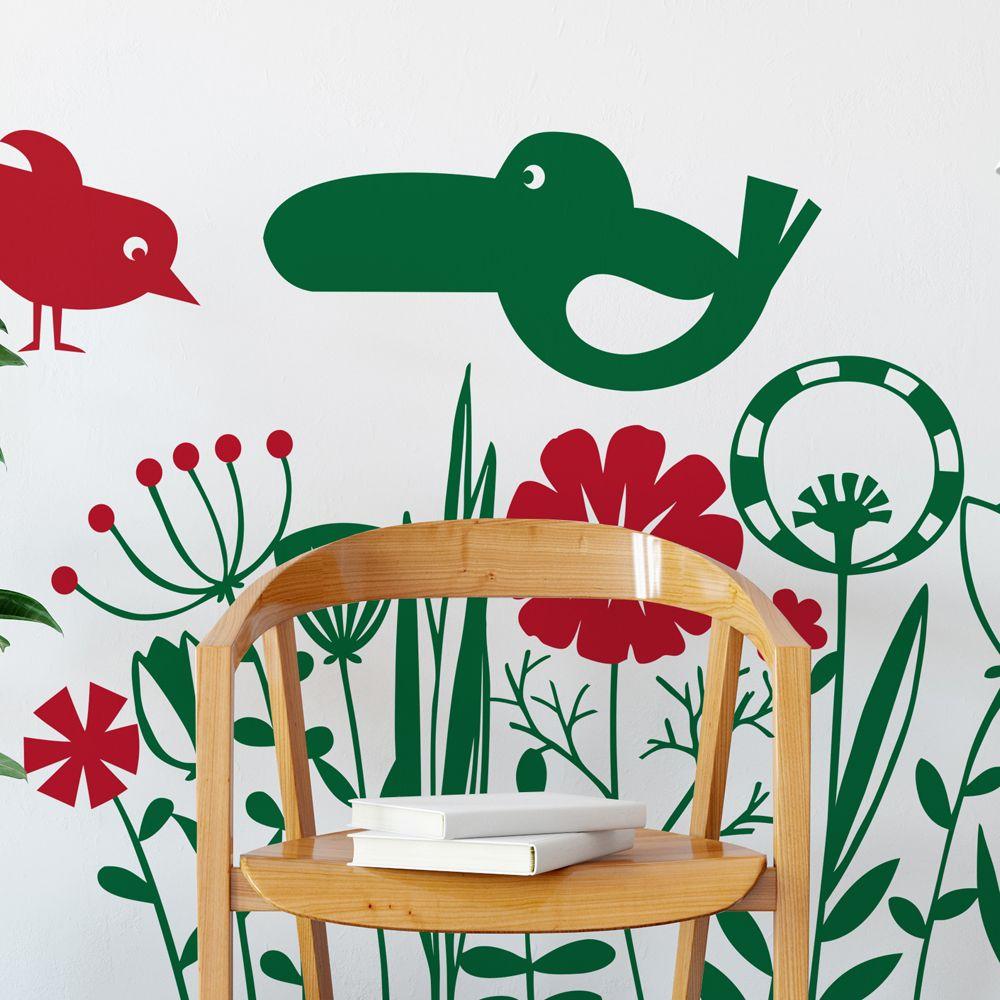 Изображение Экзотические цветы и птицы