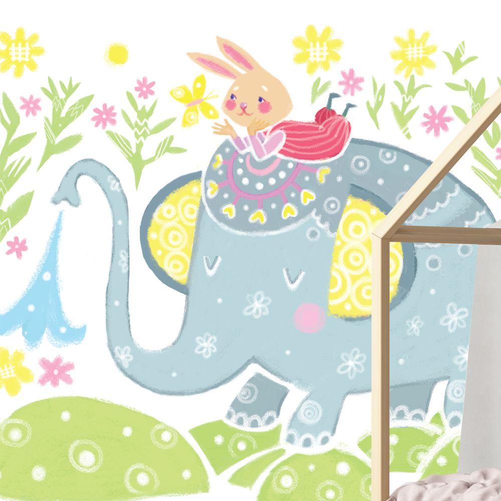 Изображение Фотообои на стену детской комнаты «Слоник и зайчик»