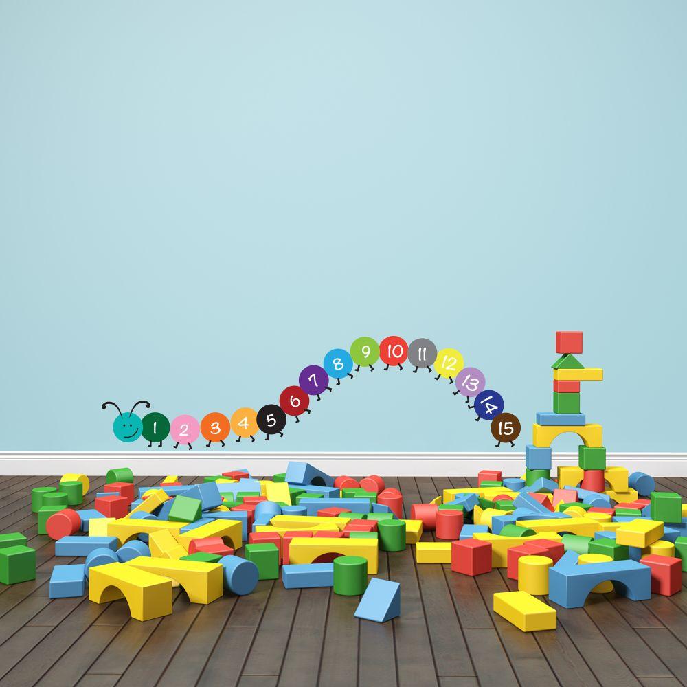 Изображение Наклейка для детской «Пятнадцатиножка с цифрами»