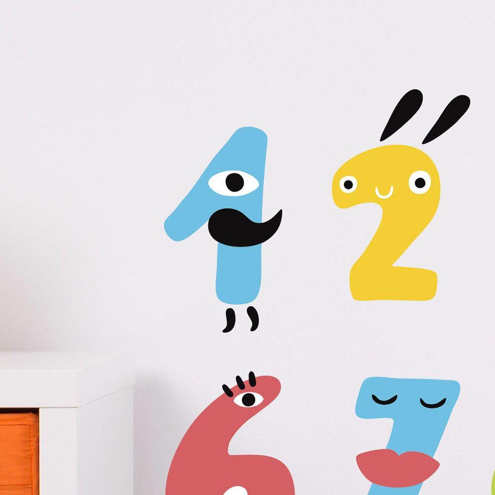 Изображение Наклейка на стену «Веселые цифры»