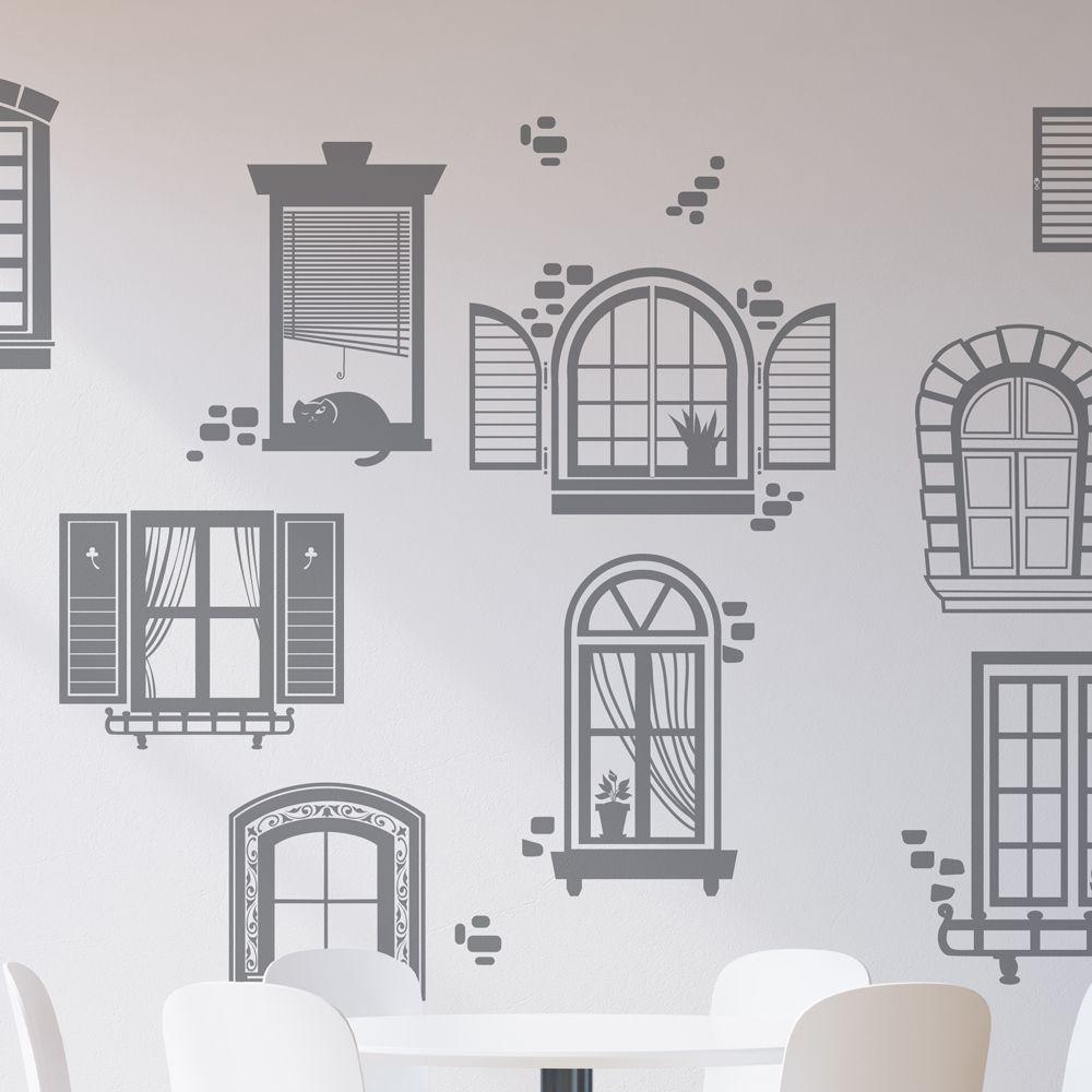 Изображение 10 окошек на стене