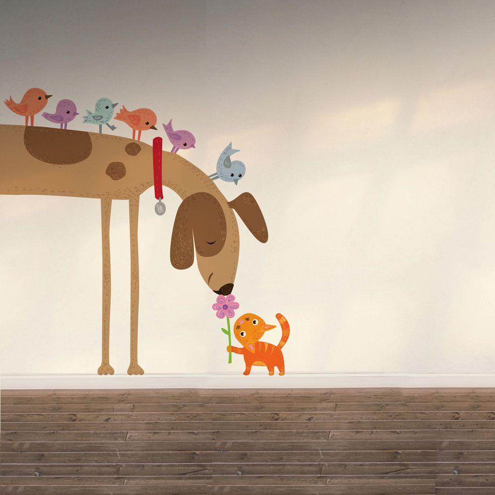 Изображение Наклейка собака, птички и котик